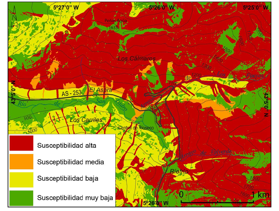 Susceptibilidad de riesgos en el entorno de la carretera AS-253